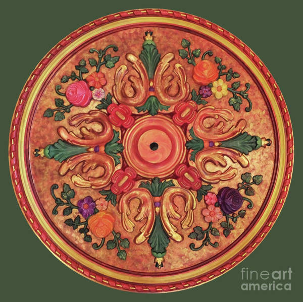 Relief - Ceiling Medallion Red And Gold 32 Inch by Lizi Beard-Ward