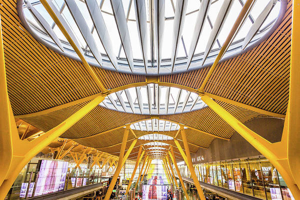 Photograph - Ceiling Windows Madrid Airport by Gary Gillette