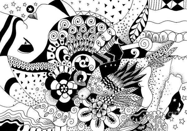 Organic Abstraction Drawing - Ceilings And Floors 2 by Helena Tiainen