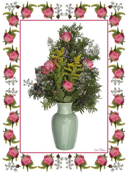 Mixed Media - Celadon Vase With Goldenrod by Lise Winne