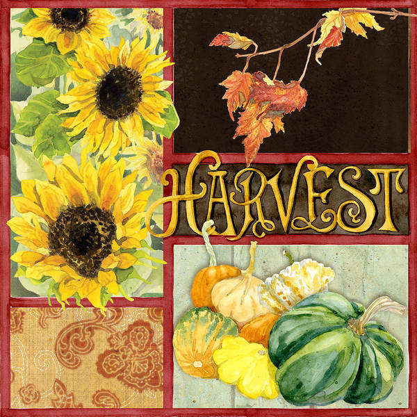 Vegetable Patch Wall Art - Painting - Celebrate Abundance - Harvest Fall Leaves Squash N Sunflowers W Paisleys by Audrey Jeanne Roberts
