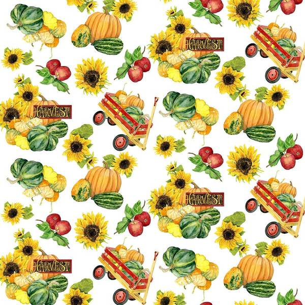 Vegetable Patch Wall Art - Painting - Celebrate Abundance Harvest Half Drop Repeat by Audrey Jeanne Roberts