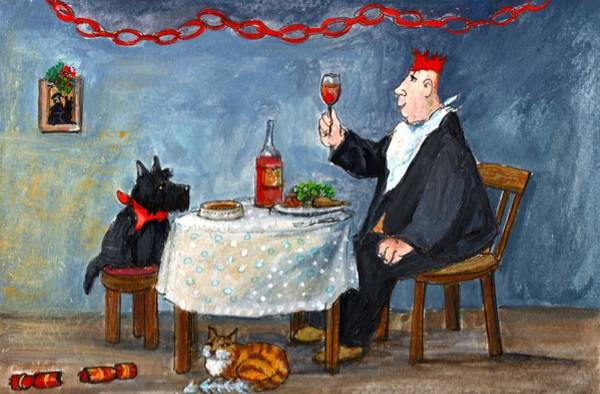 Cats And Dogs Painting - Celebrating Christmas by Margaret Loxton