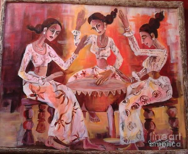 Wall Art - Painting - Celebrating The New Year Festivel by Sudumenike Wijesooriya