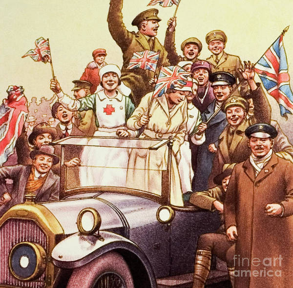 Victorious Painting - Celebrations Post World War I by Pat Nicolle