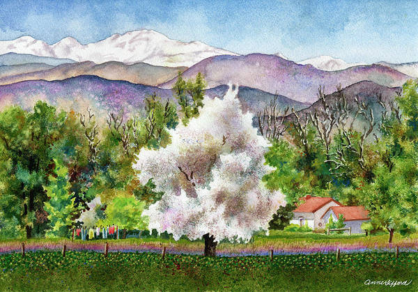Blooming Tree Painting - Celeste's Farm by Anne Gifford