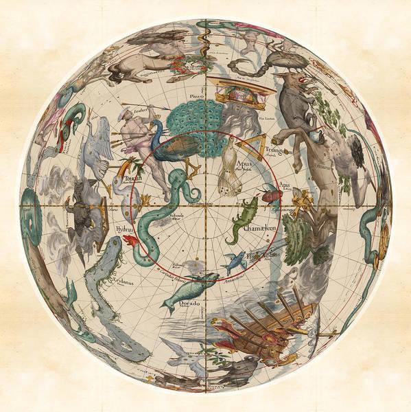 Hydra Wall Art - Drawing - Celestial Map - Constellations - Hydra, Apus, Centaurus - Indus - Illustrated Map Of The Sky by Studio Grafiikka