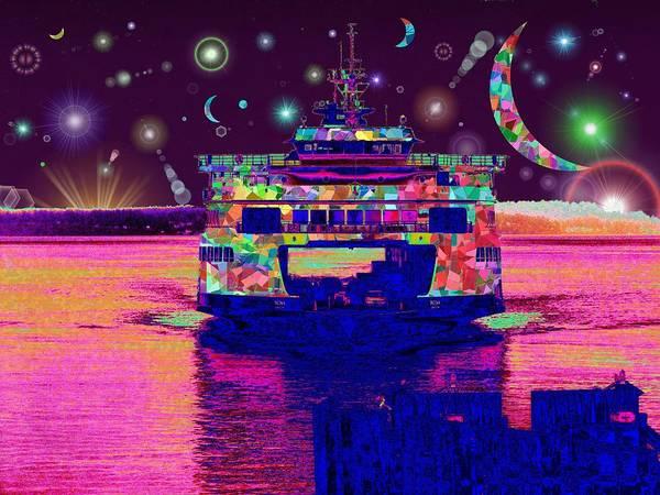 Wake Digital Art - Celestial Sailing by Tim Allen