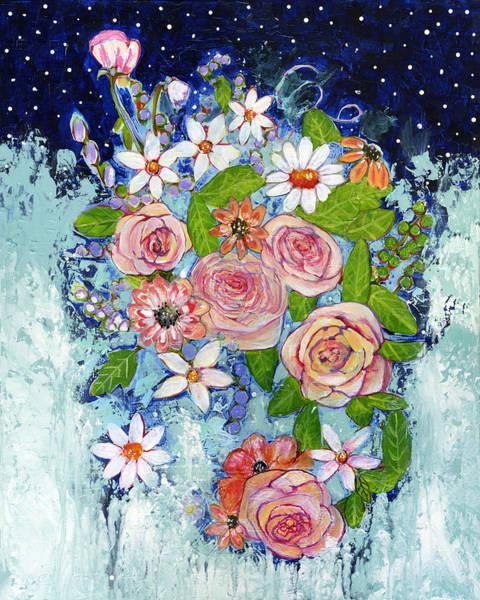 Wall Art - Painting - Celestial Sky Flower Garden by Blenda Studio
