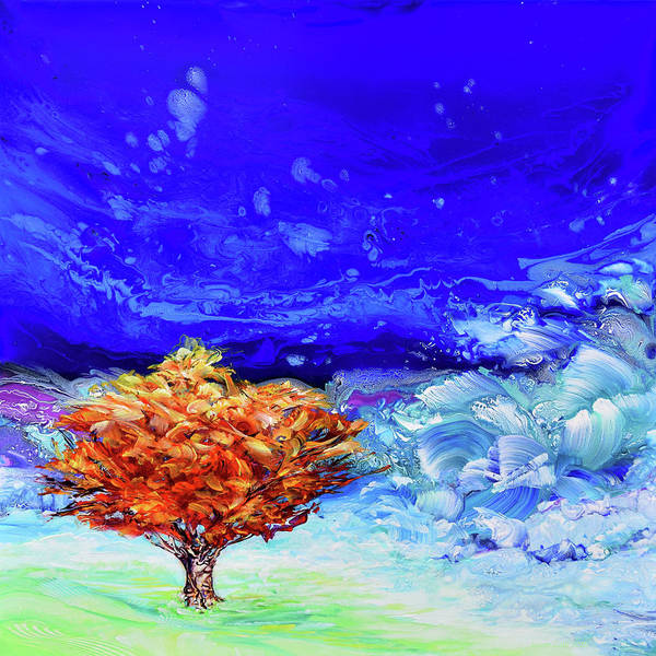 Wall Art - Painting - Celestial Sky Turquoise, Fire Tree By Land And Sea by Susan Card