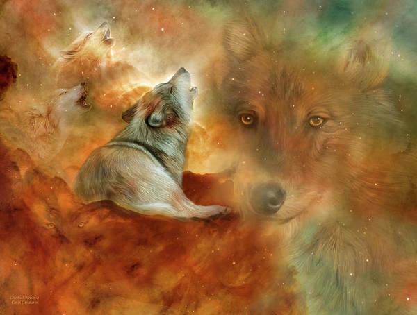 Mixed Media - Celestial Wolves 2 by Carol Cavalaris
