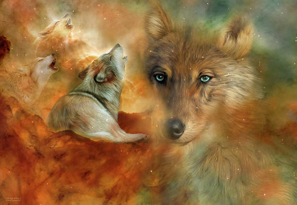 Mixed Media - Celestial Wolves 3 by Carol Cavalaris