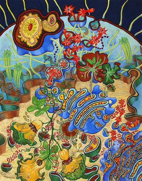 Cell Membrane Painting - Cell Garden by Shoshanah Dubiner
