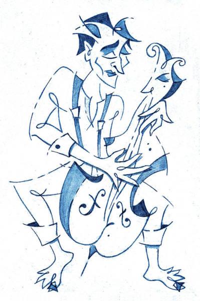 Wall Art - Drawing - Cellist Music Player- Sketchbook Blue Pencil Drawing by Arte Venezia