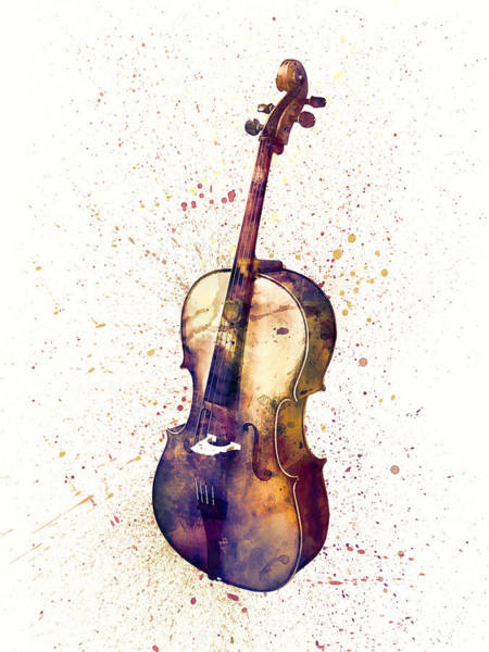 Wall Art - Digital Art - Cello Abstract Watercolor by Michael Tompsett
