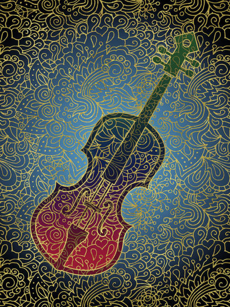 Wall Art - Digital Art - Cello Colorful Gold by Flo Karp
