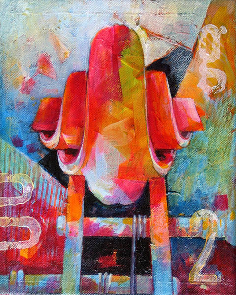Wall Art - Painting - Cello Head In Blue And Red by Susanne Clark