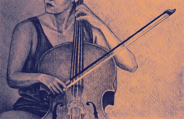Cellist Painting - Cello Player Drawing. by Oana Unciuleanu