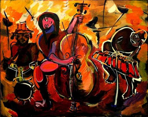 Allman Painting - Cello Players by Andreea Allman
