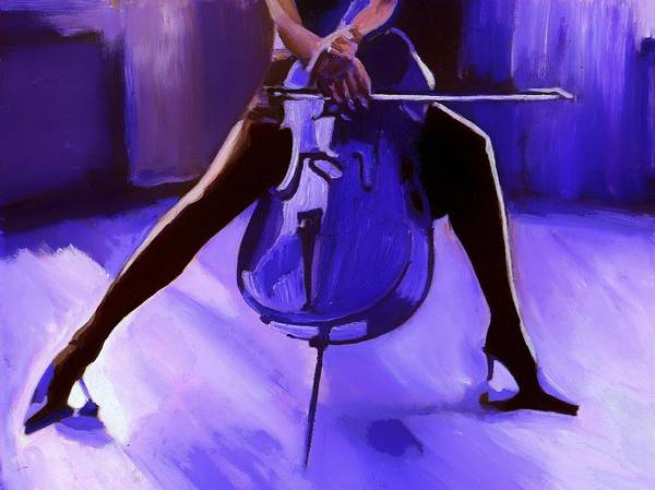 Monochrome Painting - Cello by Vel Verrept