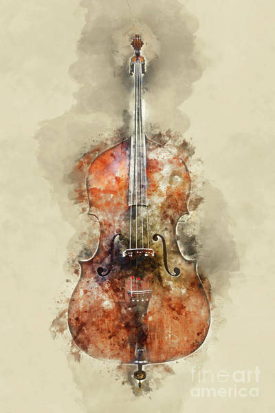 Wall Art - Painting - Cello Watercolor by Delphimages Photo Creations