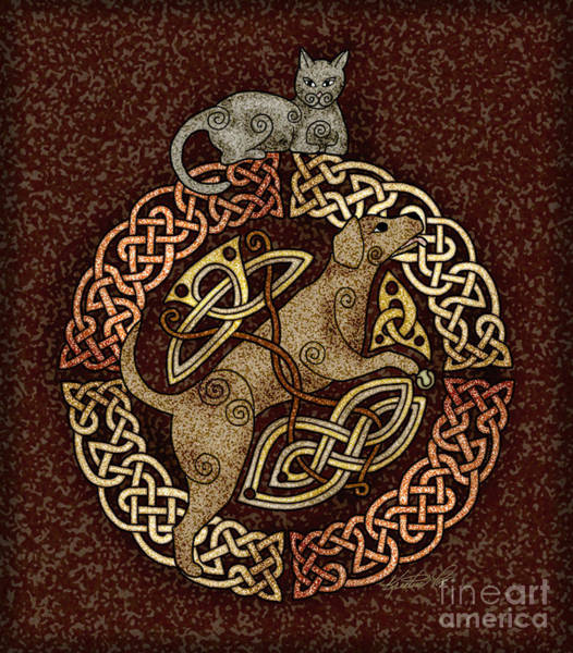 Mixed Media - Celtic Cat And Dog by Kristen Fox