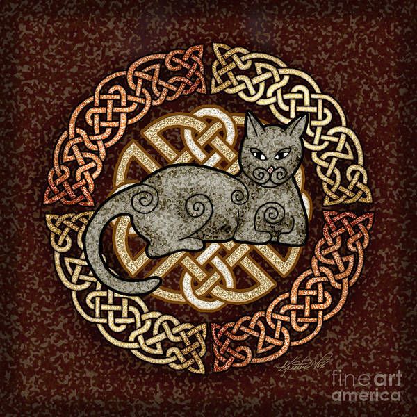Mixed Media - Celtic Cat by Kristen Fox