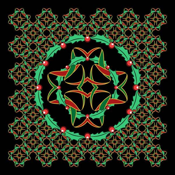 Digital Art - Celtic Christmas Holly Wreath by MM Anderson