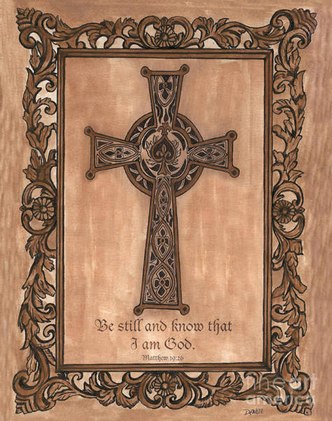 Framed Painting - Celtic Cross by Debbie DeWitt