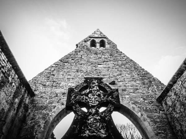 Photograph - Celtic Cross In Church Ruins by James Truett