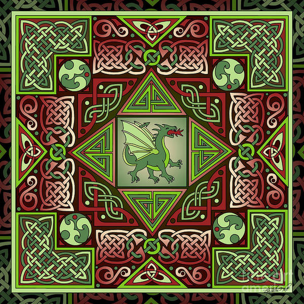 Mixed Media - Celtic Dragon Labyrinth by Kristen Fox
