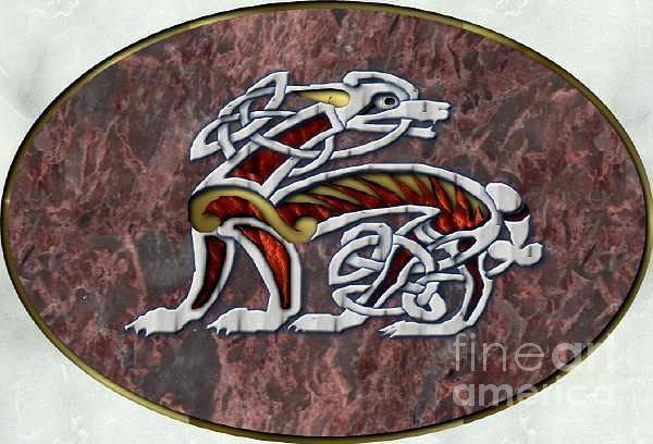 Genda Digital Art - Celtic Hound On Marble by Brett Genda