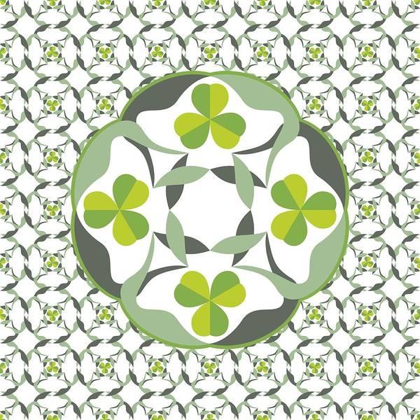 Digital Art - Celtic Inspired Shamrock Graphic by MM Anderson