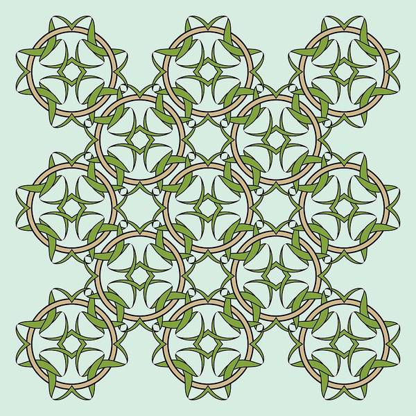 Digital Art - Celtic Knot Interlocking In Green And Gold by MM Anderson