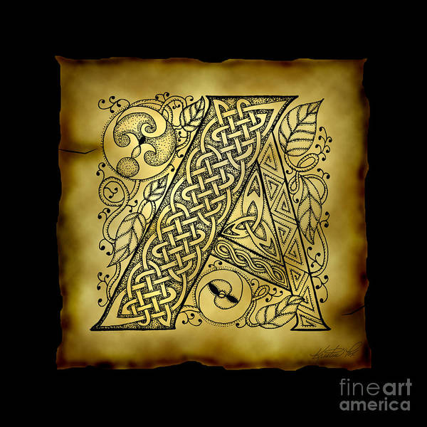Mixed Media - Celtic Letter A Monogram by Kristen Fox