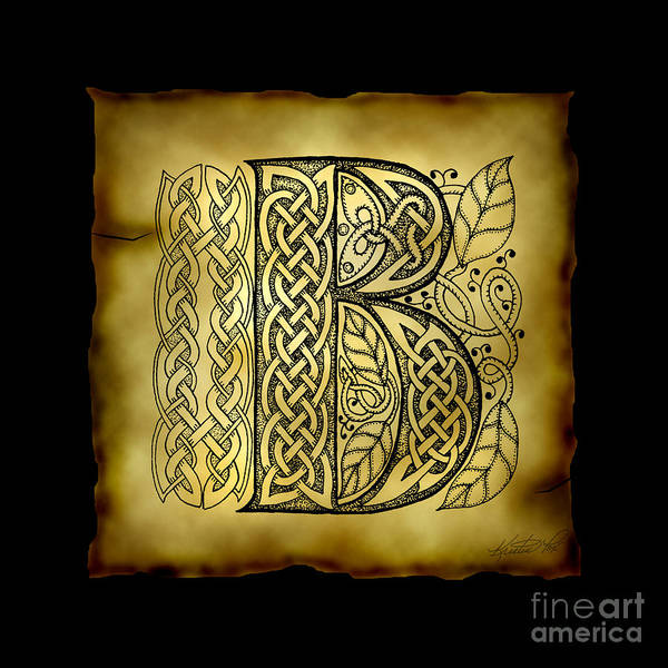 Mixed Media - Celtic Letter B Monogram by Kristen Fox