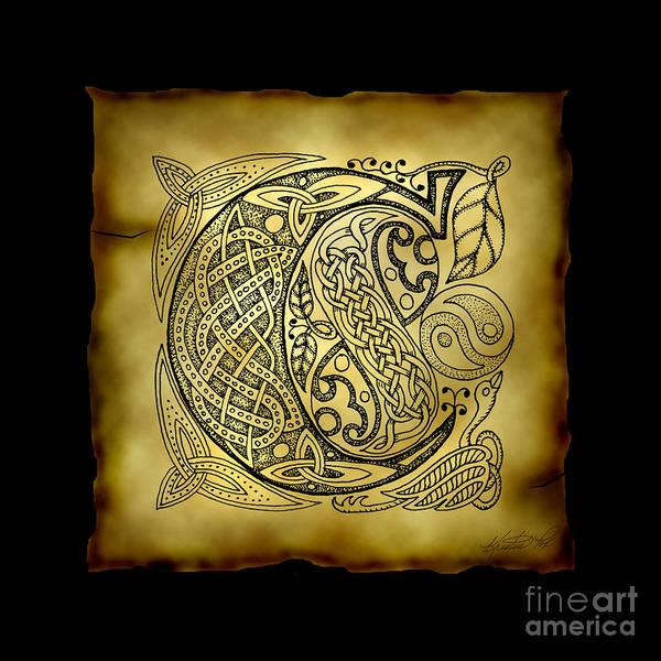 Mixed Media - Celtic Letter C Monogram by Kristen Fox