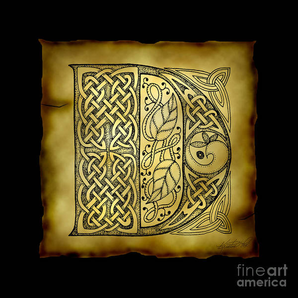 Mixed Media - Celtic Letter D Monogram by Kristen Fox