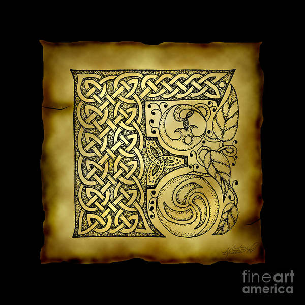 Mixed Media - Celtic Letter F Monogram by Kristen Fox