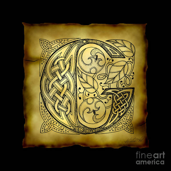 Mixed Media - Celtic Letter G Monogram by Kristen Fox