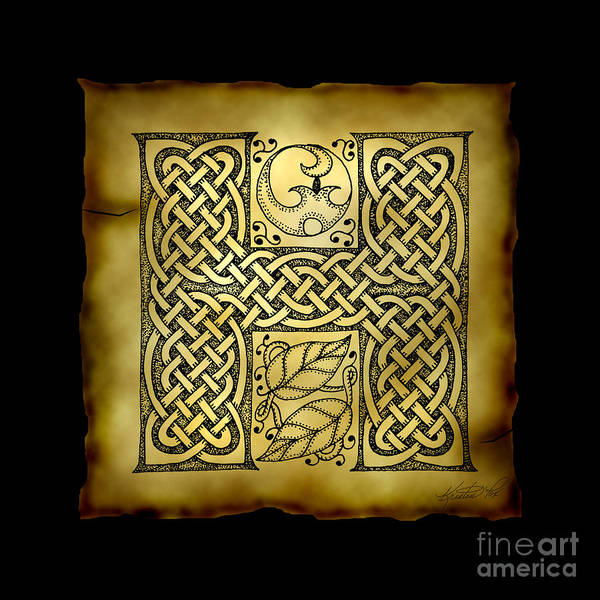 Mixed Media - Celtic Letter H Monogram by Kristen Fox