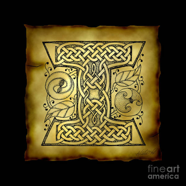 Mixed Media - Celtic Letter I Monogram by Kristen Fox