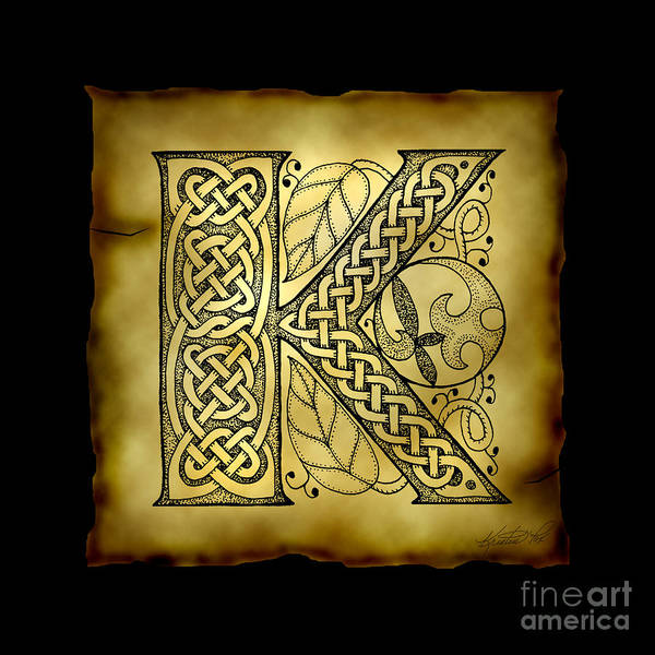 Mixed Media - Celtic Letter K Monogram by Kristen Fox