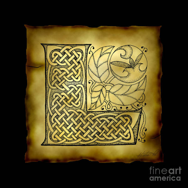 Mixed Media - Celtic Letter L Monogram by Kristen Fox
