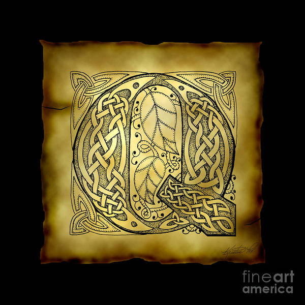 Mixed Media - Celtic Letter Q Monogram by Kristen Fox