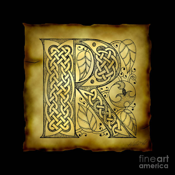 Mixed Media - Celtic Letter R Monogram by Kristen Fox