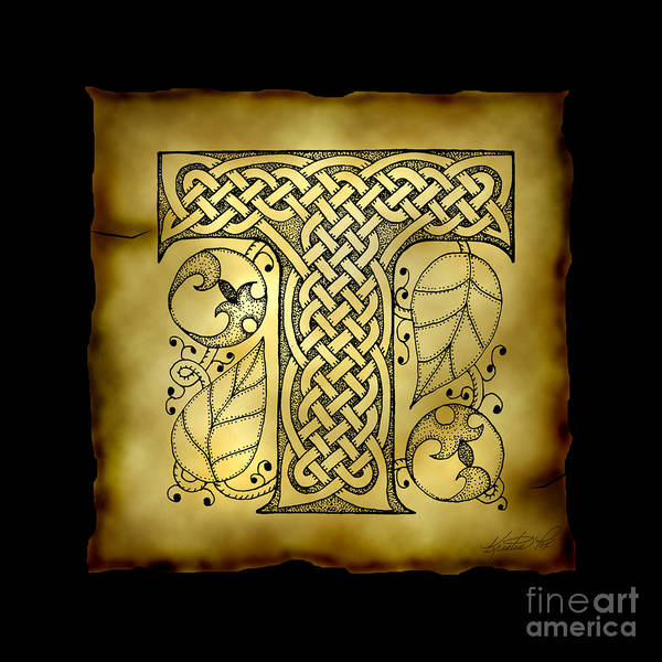 Mixed Media - Celtic Letter T Monogram by Kristen Fox