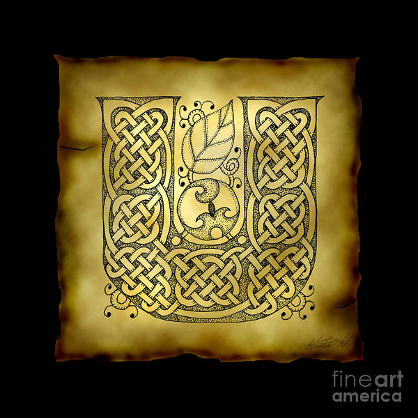 Mixed Media - Celtic Letter U Monogram by Kristen Fox