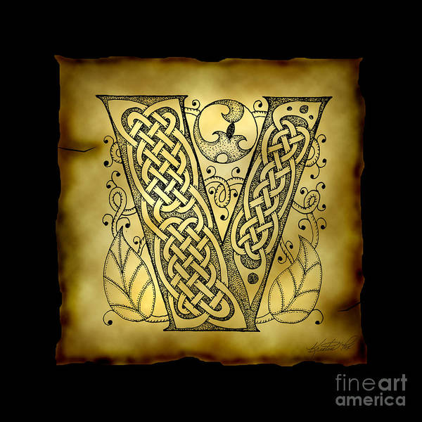 Mixed Media - Celtic Letter V Monogram by Kristen Fox