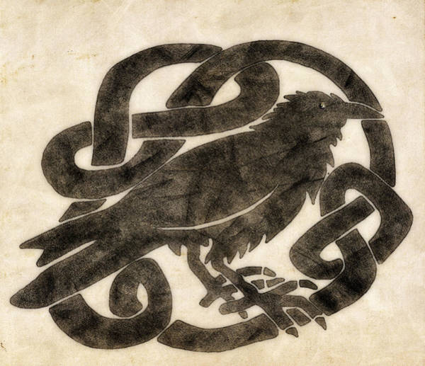 Wall Art - Drawing - Celtic Raven Knot by Little Bunny Sunshine